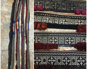 Vintage tribal Dao embroidered collars in the north of Vietnam