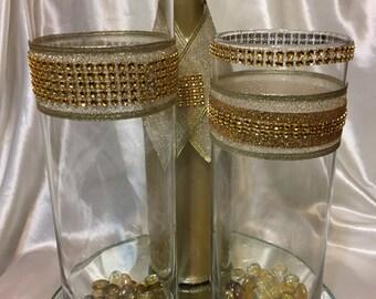 Gold Bling 3 Piece Wedding Anniversary Centerpiece's 10 Sets