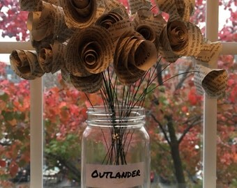Outlander Book Page Flowers
