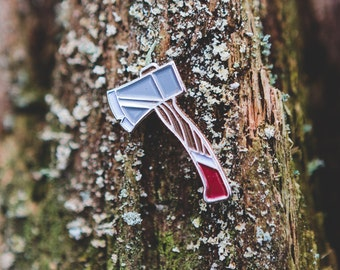 Hatchet Axe Enamel Lapel Pin Badge / Vintage autumn inspired lumberjack soft enamel pin
