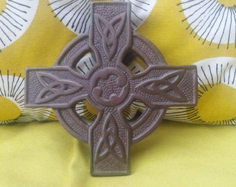 Celtic cross brass door knocker