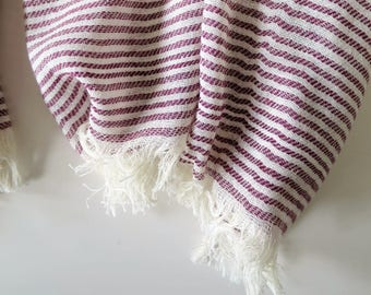 Cotton summer scarf with fine stripes