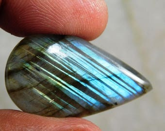 Teardrop Blue Labradorite Cabochon Genuine Handmade Gemstone For Jewelry Making - 37.75ct.(35X19X7)mm ( #658)