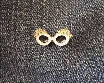 White Flower Sunglasses Enamel Pin