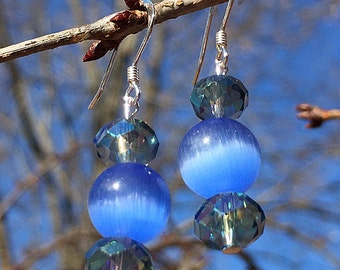 Beautiful blue and sterling silver earrings
