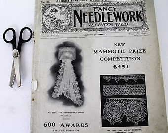 Fancy Needlework Illustrated Magazine/1912/No. 23-Vol 2/Crochet Patterns & Embroideries/Sewing and Needlecraft/ Collectable