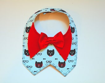 Cat bandana with red satin bow - Cat costume - dog bib - dog bandana - holiday bandana