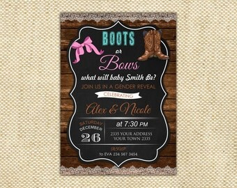 Boots or Bows Gender Reveal Invitations. Gender Reveal Party Invitate. Baby Reveal Invitations. Gender Reveal Party Invites. Pink or Blue.