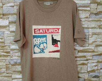 MEGA SALE 90's Vintage Andy Warhol Pop Art Popeye T-Shirt USA Size L
