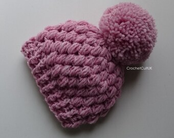 Adorable Cute Candyfloss Baby Pink Puff Stitch Hat/ Baby Girls Hat/ Baby Pom Pom Hat 0-3 months