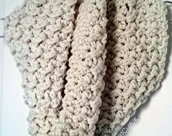 Chunky Knit Scarf Cowl Infinity Scarf Warm Soft Cosy Cream Neutral Scarf - Oat