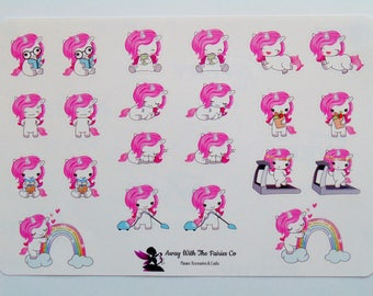Unicorn Planner Stickers - Available in 4 mixed  varieties and single full sheets