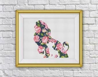 BOGO FREE! Disney Cross Stitch Pattern, Disney Lion King, Floral Lion Flowers silhouetteCross Stitch, Needlework, PDF Instant Download, S116