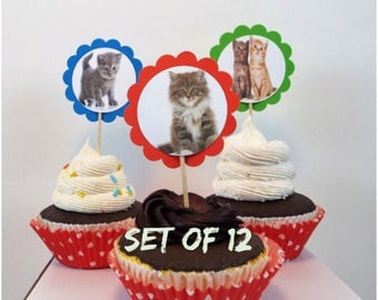 Kitten Theme Birthday | 12 Cat Party Decorations, Cat Cupcake Toppers, Kitten Cupcake Toppers, Cat Party Decorations, Cat Birthday Party