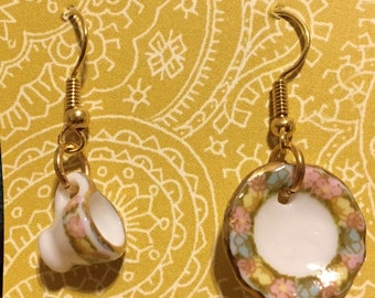 Vintage Inspired Mini Teacup and Saucer Earrings