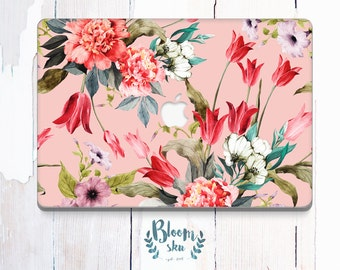 Mac pro floral sticker Skin for mac pro Decal for mac pro Mac pro skin with tulips and peonies Watercolor apple laptop decal BS026