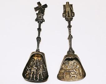 Pair of Vintage Dutch Silver Plated Sugar Spoons