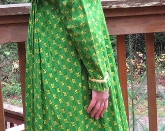 60's Lime Flowers on Grass Green Honolulu Hawaiian Prairie Dress Muumuu Maxi Dress Shaheen Style