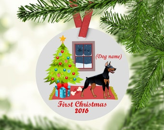 Doberman Pinscher Christmas Ornament - Doberman Pinscher Ornament - Doberman Pinscher - Doberman Pinscher First Christmas Ornament -