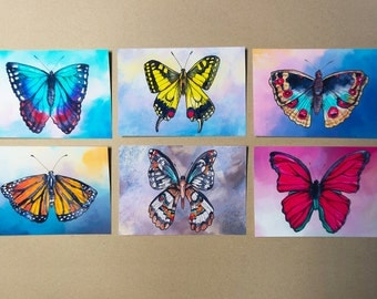 6 Postcards of Butterfly Illustrations