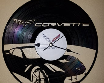 Chevrolet Corvette themed Vinyl Album Record Clock made in the > USA < with FREE Shipping!