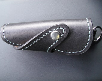 Sandori key holder / real, American leather key case in black with turquoise contrast stitching, handmade