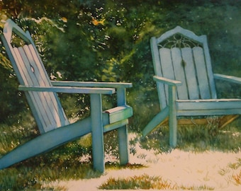 Adirondack chairs, art watercolor painting giclee print, art collectors business/home wall decor, by Phyllis Nathans