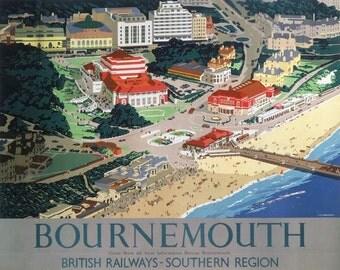 Vintage Southern Railway Bournemouth Poster A3/A2/A1 Print
