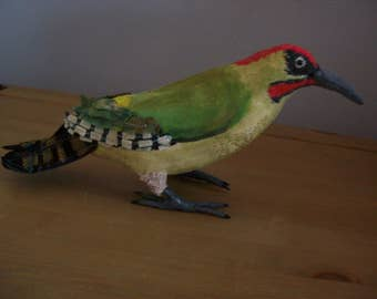 Green woodpecker textile bird. One of a kind creation.