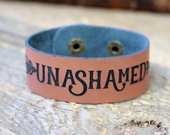 Leather Bracelet/ Custom bracelet/ Unashamed/ 2 Timothy 1:8/ Engraved Leather Cuff/ Christian Gift/ Inspirational Gift