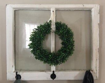 "15"" Faux Boxwood Wreath with Lace Ribbon"