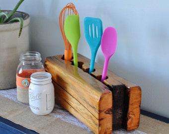 Wooden Timber Frame Counter Top Kitchen Utensil Organizer - 4 utensil spots