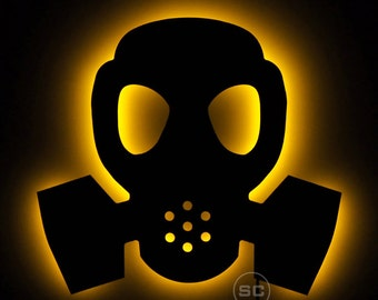 Lighted Gas Mask Sign - Grunge Theme Gas Mask Wall Light - Gas Mask Decal
