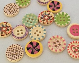 Wooden buttons, patterned buttons, Pack of 15, 15mm round buttons, mixed pattern, cute buttons, different, baby knits, craft buttons, bright