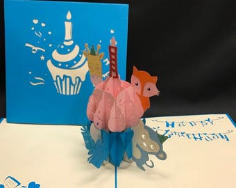 Cupcake With Animals 3-d pop up card