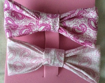 Hair bows, paisley hair bow clips, pink and purple hair bows, bow clips