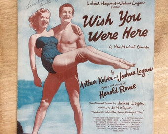 Vintage piano sheet music, 1950's piano music, four pages of piano music, Wish You were here 1952 sheet music