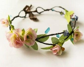 Boho Flower Crown, Forest Wedding Flower Girl Hair Wreath, Greenery Pink Floral Crown, Spring Flower Birthday Headband, Easter Headband,