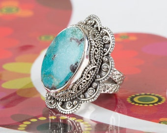 Turquoise Ring, Silver Turquoise Ring, Handmade Jewelry, Statement Ring, Turquoise Jewelry, December Birthstone Ring, Gift Ring,BJR-501-TU-A