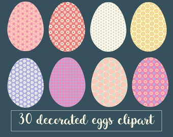 Easter Egg Clipart Decorated Eggs Patterned Digital