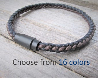 Men's Cotton Rope & Magnetic Clasp Braided Bracelet Best Men Gift Braided Cotton Men's Rope Bracelet Gift Best Vegan Gift Men's Bracelet
