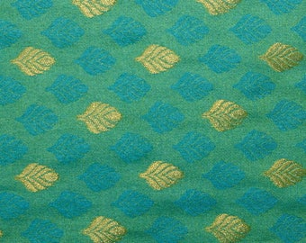 Half Yard of Green and Light Blue and Golden Leaves Pattern Brocade Silk Fabric, Brocade Silk, Brocade Fabric