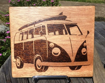 VW Kombi Woodburned Rustic Home Decor Wooden Sign Wall Hanging Plate