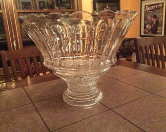 Antique glass punch bowl with glasses