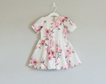 Pink Cherry Blossom Dress// Ready to Ship// Size 3T// Free Shipping