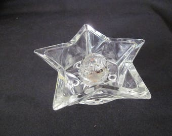 Hazel Atlas Clear Glass Small Star Candle Holder /Taper Holder, 5 Point Star