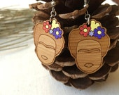 Senorita Wooden dangle earrings - wooden drop earrings - wooden jewelry - wooden jewellery - flower earrings -artist earrings
