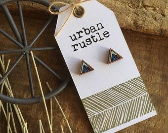 BLUE mountain peak wooden stud earrings - wooden jewelry - wooden jewellery - geometric earrings - mountain earrings - wooden stud earrings