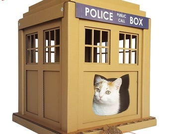 Dr. Who Tardis Cardboard Cat House,Unique Cat Furniture, Cat Toy, Cat Bed, Cat Cave, Pet House, Cardboard Furniture,Cat Condo
