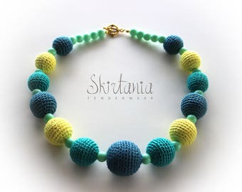 Mint Lemon - Turquoise Necklace Knitted Wooden Beads Girls